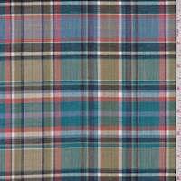 Teal/Olive Multi Plaid Cotton Lawn